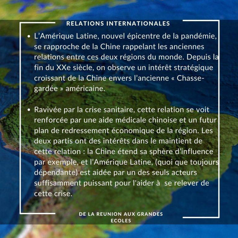 Relations internationales : https://www.panorama.com.ve/mundo/America-Latina-China-una-relacion-mas-alla-de-lo-comercial-20200729-0040.html